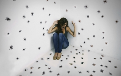 A young woman crouched in terror while surrounded by spiders